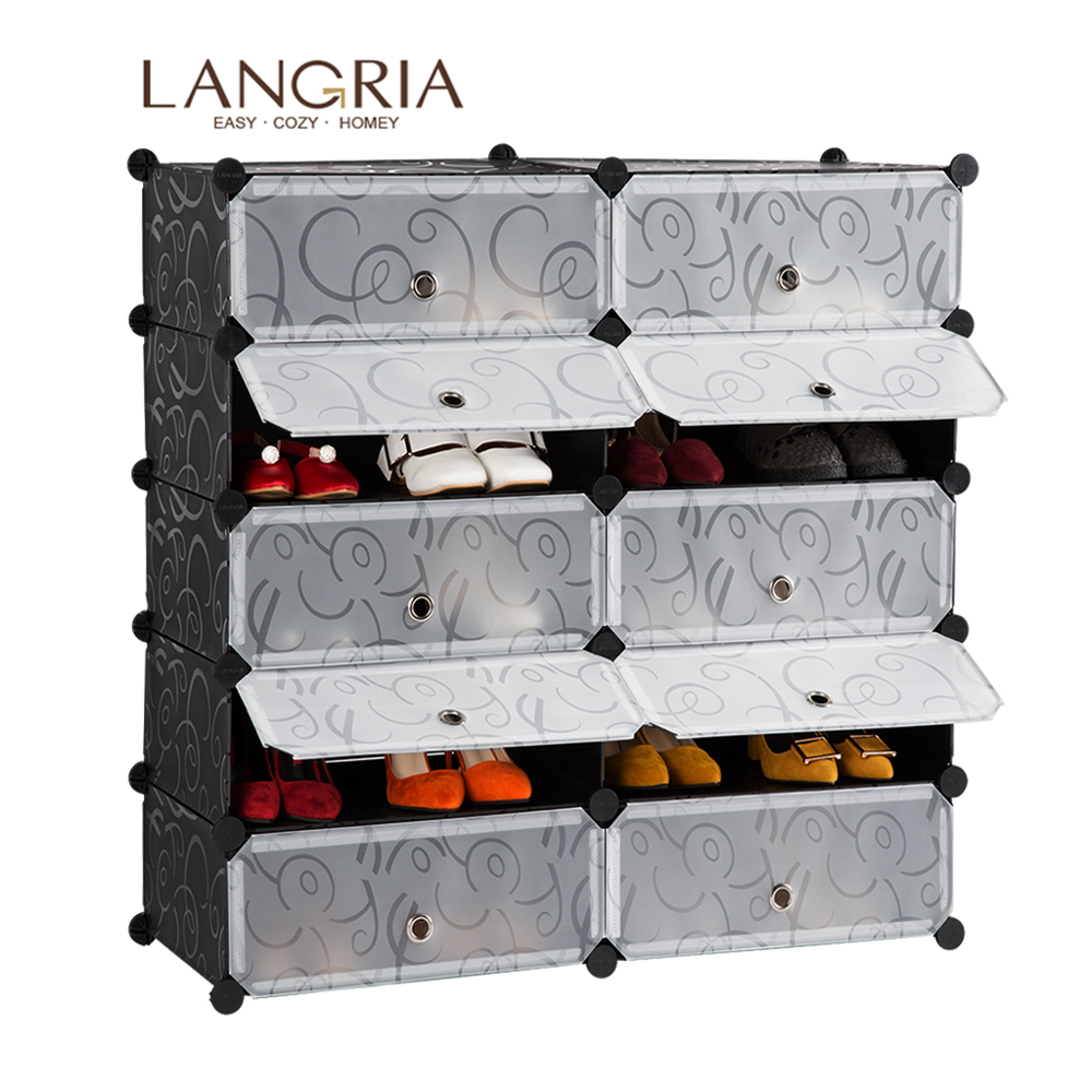 LANGRIA 10/18 Cube Storage Shoe Cabinet Modular Dustproof PVC Shoe Organizer Shelf Curly Patterned Shoe Rack Cabinet Living Room