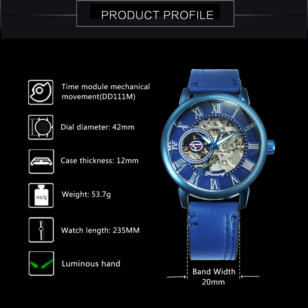 FORSINING 2019 NEW Men's Fashion Watch Men Blue Skeleton Mechanical Mens Watches Top Brand Luxury Leather Strap Wristwatch Hot