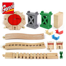 Montessori All Kinds Wooden Track Parts Beech Wooden Railway Train Track Toy Accessories Wood Tracks Toys For Children Gifts
