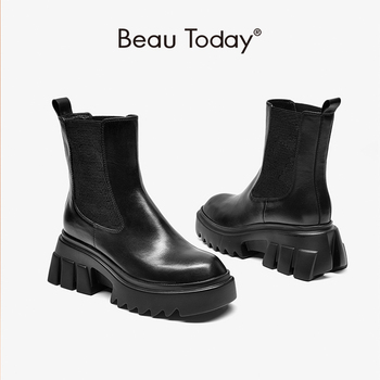 BeauToday Platform Ankle Boots Women Calfskin Leather Chelsea Bootie Elastic Band Wedges Heel Winter Ladies Shoes Handmade 03510 beautoday chelsea boots women cow suede pointed toe chunky heel elastic ladies ankle boots handmade a03324