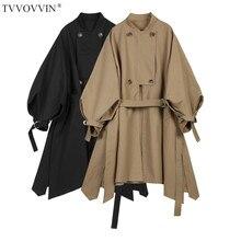 TVVOVVIN женские плащи с рукавом-фонариком и асимметричным подолом хлопковые ветровки с рукавами на шнуровке Длинные женские пальто осень Q553