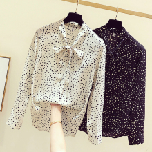 shintimes Polka Dot Blouse Black Chiffon Shirt Women 2019 Bow Ladies Tops Long Sleeve Blouses Woman Clothes Chemise Femme