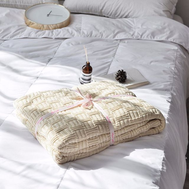 Plaid Pattern Knitted Blanket Sherpa Farmhouse Blanket Soft Blanket For Bed 110x180cm 180x200cm