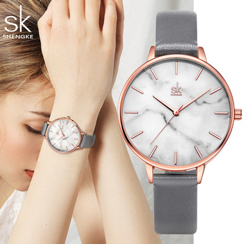 Ins Fashion Elegant Women Watches Rose Gold Simple Casual Ladies Watch Unique Design Marbling Grey Leather Gift Clock