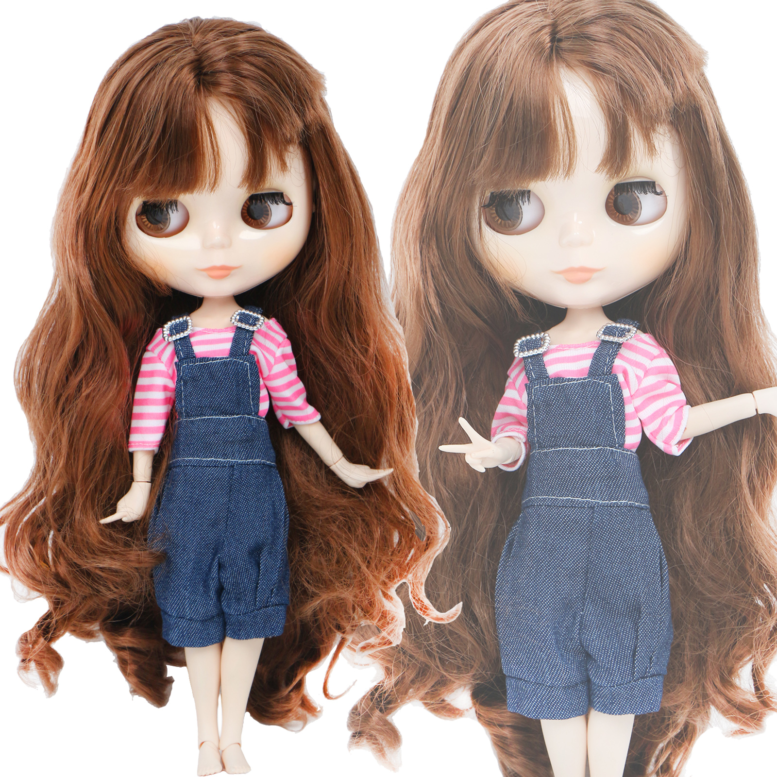 Handmade Fashion Outfit For Blythe Doll 11.5'' Blue Pink Blouse Overalls Pants Daily Wear Doll Clothes Accessories Toy