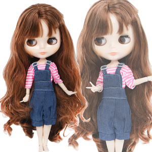 Handmade Fashion Outfit for Blythe Doll 11.5'' Blue Pink Blouse Overalls Pants Daily Wear Doll Clothes Accessories Toy(China)