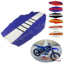 Белого и синего цвета Dirt Pit Bike ребристые захват Седельно-сцепное устройство Крышка для Yamaha YZ F WR YZ-X YZ-FX WRF TTR 85 125 250 450 KTM TE TX TC