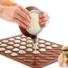 VOGVIGO 48 Circles Silicone DIY Chocolate Cookie Baking Mould Macaroon Baking Mould Set Macaron Baking Sheet Baking Tools british baking