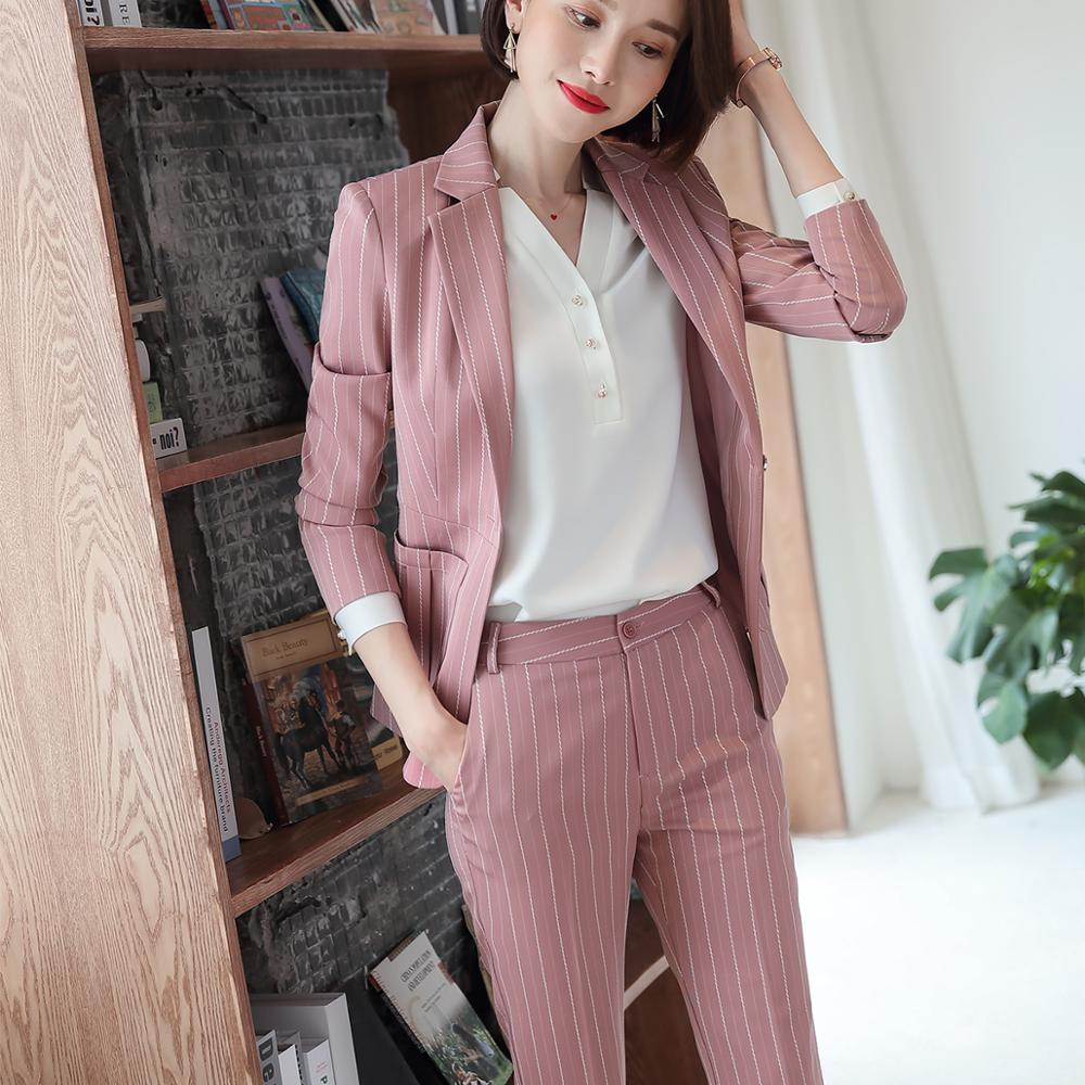 Fashion women casual pant suit largest size 5XL Green Pink Striped suit Jackets And pant 2 Piece sets suits 36