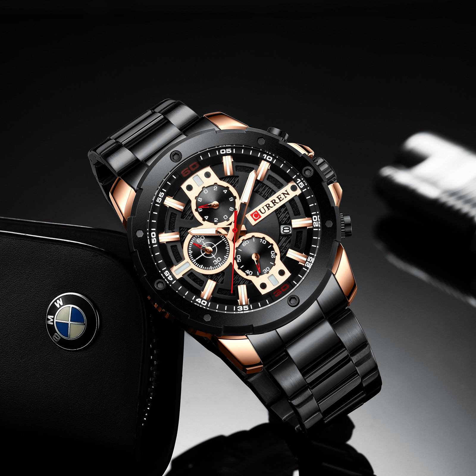 Banda de Aço Desportivo à Prova Curren Relógios Inoxidável Relógio Quartzo Cronógrafo Militar Masculino Moda Dwaterproof Água 8336