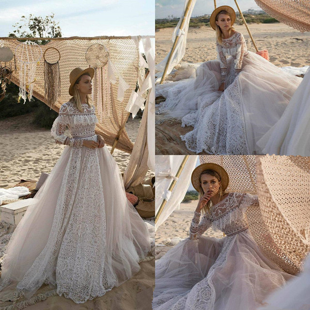 Bohemian Boho Wedding Dress with Long Sleeves A Line Vintage Open Back Lace Beaded Tulle Bridal Gowns Robe De Mariee New
