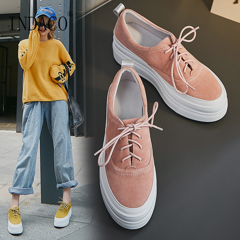 Yellow Women Sneakers Pink Lace Up Platform Sneakers Leather Casual Shoes