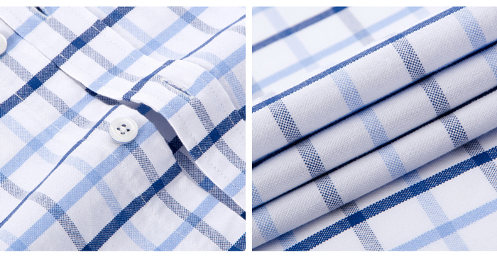 Hab9112d1fcc148a9b527c0db6a3bf166w - Men's Casual 100% Cotton Oxford Striped Shirt Single Patch Pocket Long Sleeve Standard-fit Comfortable Thick Button-down Shirts