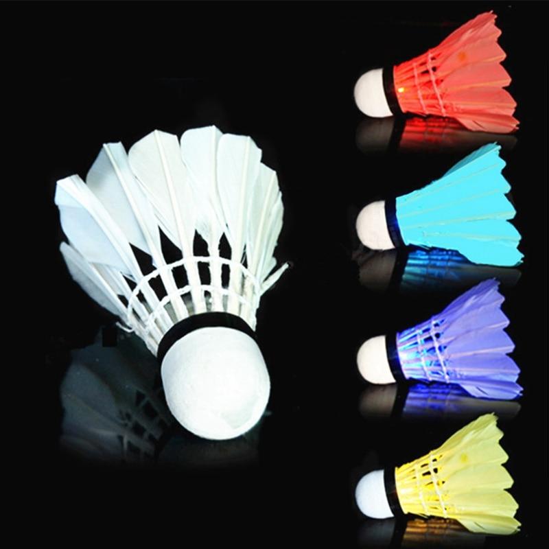 3 PCS Luminous Shuttlecock LED Dark Night Glow Goose Outdoor Sports Feather Training Badminton Ball For Indoor Activities