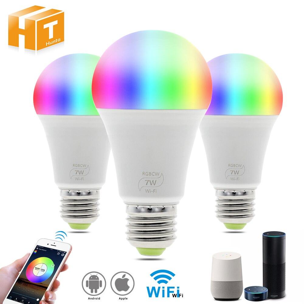Smart WIFI LED Bulb Work With Amazon Alexa & Google Home RGB + Warm Light + White Light E27 7W  AC85-265V LED Bulb Light.