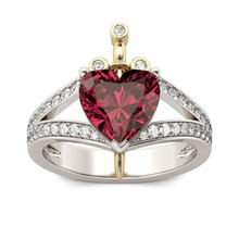 Простой красный cz сердце кольцо для женщин милые кольца на
