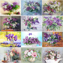 Diy 5d diamond painting flower embroidery lavender full drill