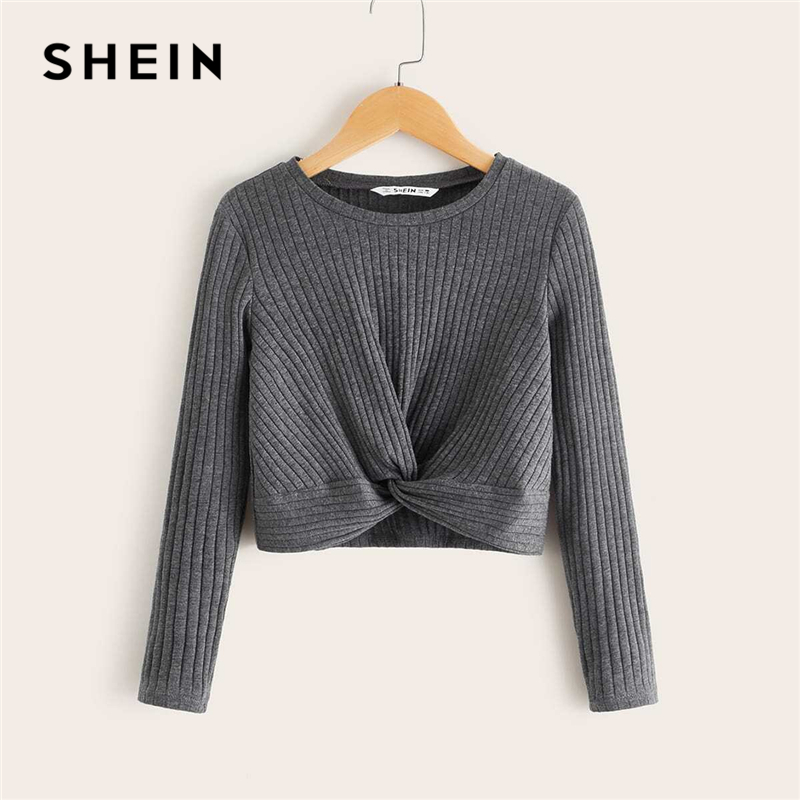 SHEIN Kiddie Solid Twist Front Ribbed Knit Crop Casual T-Shirt Kids Top 2019 Autumn Long Sleeve Form Fitted Basic Teenagers Tees