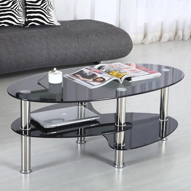 Creative Round Table Tempered Glass Nordic Small Coffee Table Modern Home Living Room Sofa Round Removable Table HWC