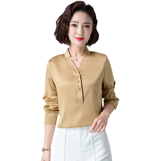 Korean Fashion Silk Women Blouses Satin Office Lady Shirt and Blouse Loose Long Sleeve Blusas Largas Plus Size Womens Tops 5