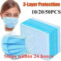 24 hours delivery disposable PM2.5 Anti Pollution Mask Dust Protection Masks Mouth Muffle Allergy Asthma Travel 3-layer In stock