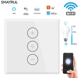 SMATRUL Tuya Smart APP WiFi Touch Dimmer Switch LED Light Wall Wireless Remote Control EU 220V 110V Alexa Google Home Led On Off