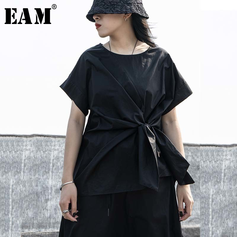 [EAM] Women Black Irregular Knot Split Big Size T-shirt New Round Neck Short Sleeve  Fashion Tide  Spring Summer 2020 1W254 1