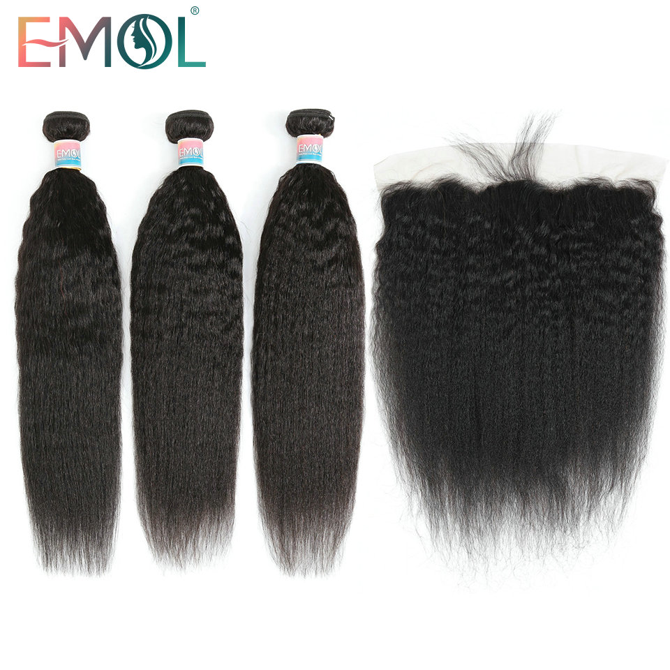 Emol Brazilian Hair Weave Bundles With Closure Frontal 13*4 Kinky Straight Hair Bundles With Closure Non-Remy