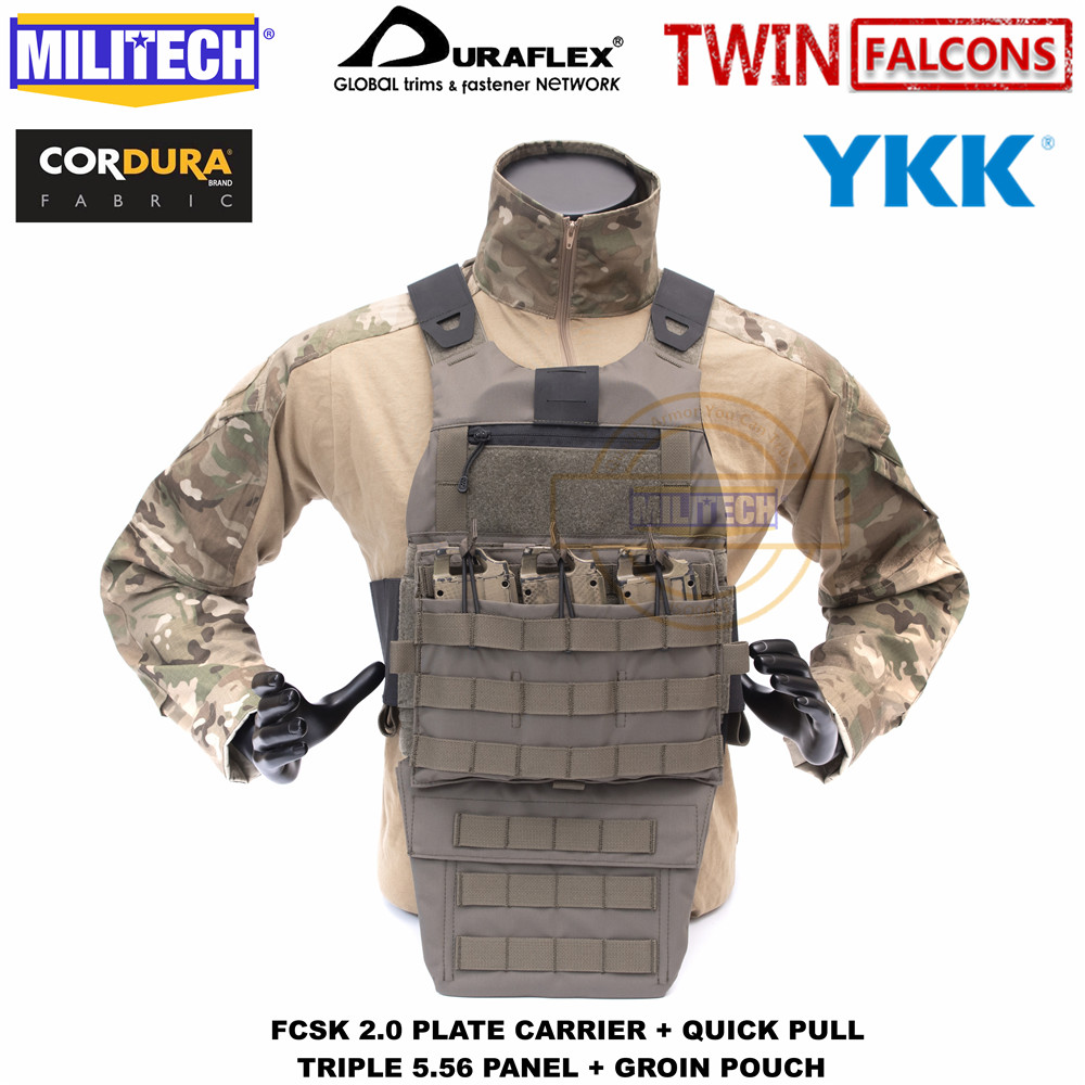 MILITECH TW FCSK 2.0 Advanced Slickster Ferro Plate Carrier With Quick Pull Triple 5.56 Panel And Groin Pouch Loadout Set Deal