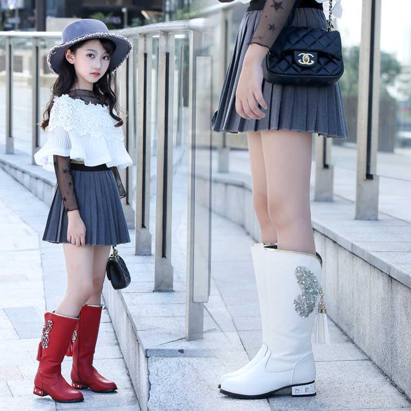 Çocuklar Yumuşak Martin çizmeler Çizmeler kızlar Moda Diz yüksek perçin çizmeler yumuşak alt Prenses Aşınmaya dayanıklı Isıtma Su Geçirmez çizmeler