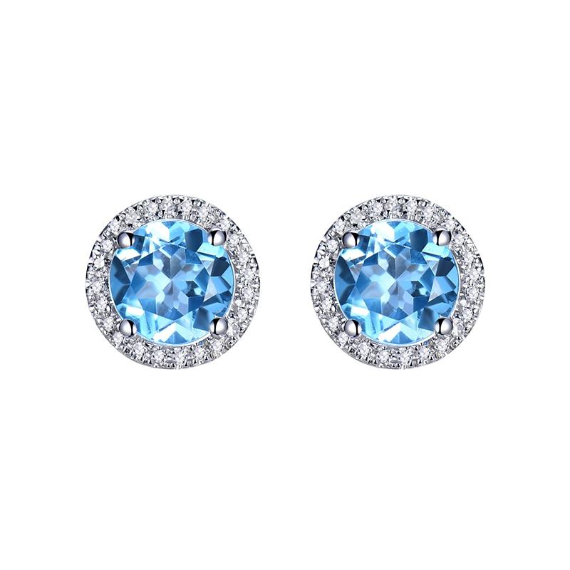 Vintage Round 6 5mm Solid 18K White Gold Diamond Blue Topaz Earrings Studs Topaz Earrings For