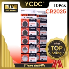 YCDC 10pcs 3V CR 2025 CR2025 Lithium Button Battery DL2025 BR2025 KCR2025 Cell Coin Batteries For Watch Electronic Toys