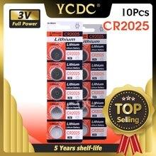 YCDC 10pcs Batteria a Bottone Al Litio 3V CR 2025 CR2025 DL2025 BR2025 KCR2025 a Bottone Batterie Per La Vigilanza Elettronica giocattoli