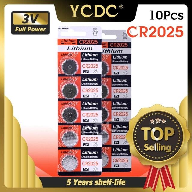 Ycdc 10個3 3v cr 2025 CR2025リチウムボタン電池DL2025 BR2025 KCR2025携帯コイン腕時計電子おもちゃ