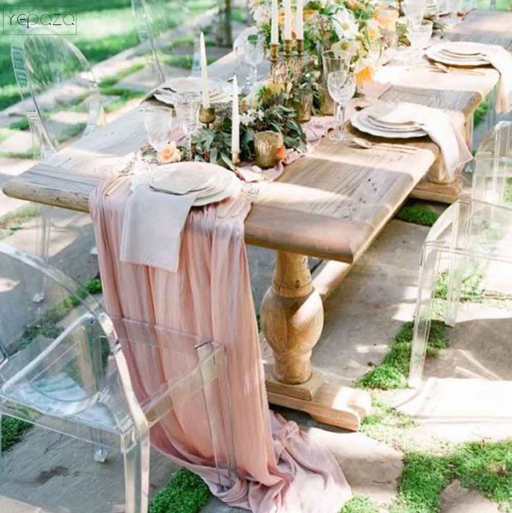 wedding gift gauze table runner party table banner personalize 22inch x 13ft wedding decoration pink guaze napkins and runners