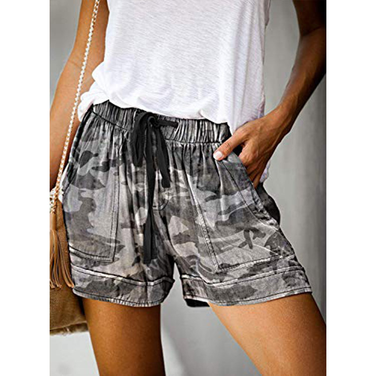 Camouflage Printed Casual Shorts Women's High Waist Straight Loose Lacing Pocket Decorative Shorts Female Spring Summer Cool