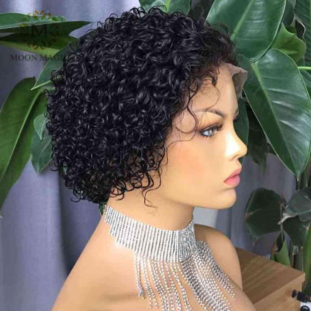 Fryzura Pixie peruka ludzkie włosy krótkie kręcone wstępnie oskubane bielone węzłów peruki Bob peruka koronki przodu peruki z ludzkich włosów 13x4 koronkowe przednie