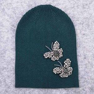 Image 4 - GZHilovingL Woman Butterfly Diamonds Beads Beanies Hats Soft Thin Wool Cotton Knitting Skullies Beanies Hats For Ladies Girls
