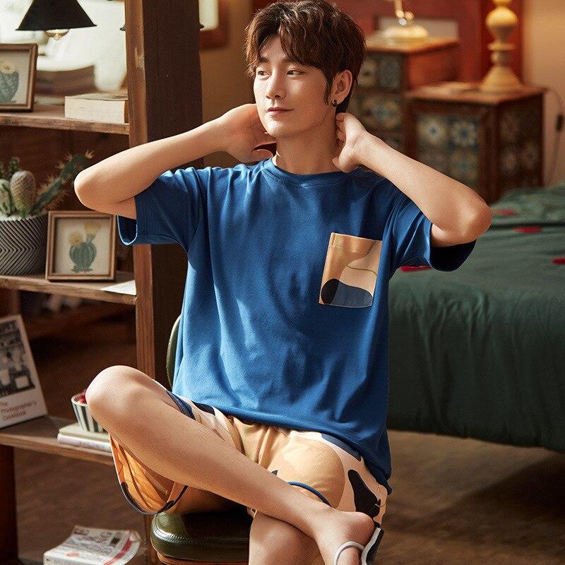 2020 Summer Short Sleeve Cotton Pajamas Sets For Men Plaid Pants Sleepwear Male Cute Cartoon Homewear Pijama Lounge Home Clothes