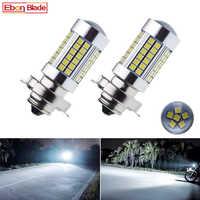 2Pcs Motorcycle LED Headlight Bulbs Lamp P26S 3030 66SMD Motor Motorbike Front Head Light With Lens White 6000K 6V 12V 24V 30V