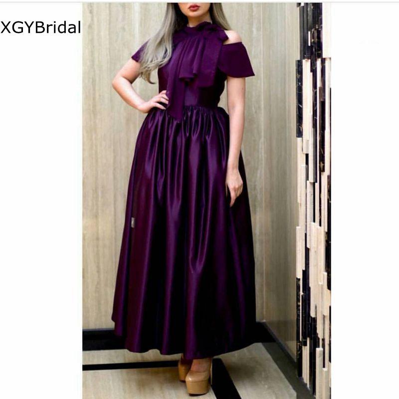 New Arrival Satin Purple Formal dresses evening Party Night abendkleider 2021 High Neck Cheap Evening dress long vestido fiesta