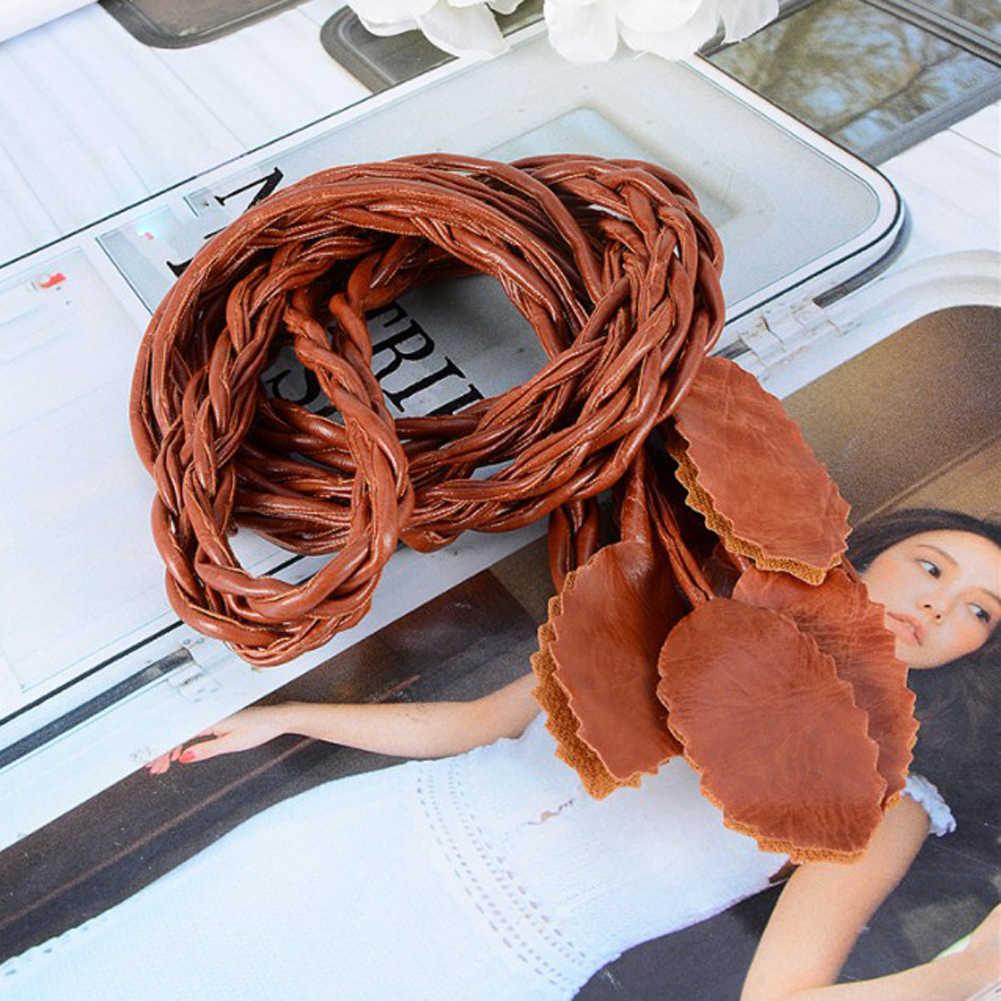 Moda kobiety Solid Color pleciony pasek liści 2020 nowy Boho dziewczyny szczupła talia liny dzianiny paski do sukni akcesoria talii