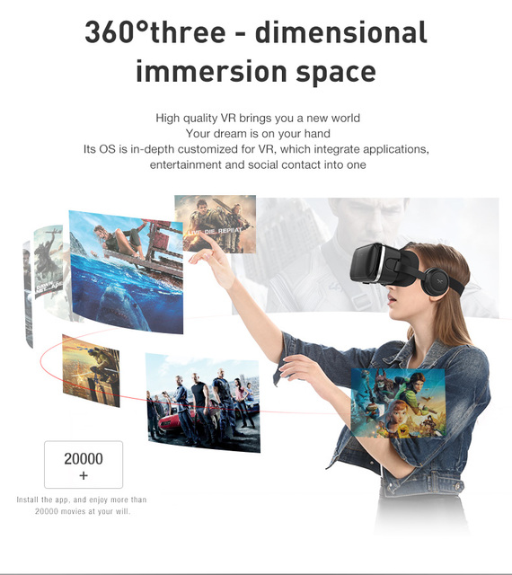 VR shinecon 6.0 Standard Edition and VR Headset Version Virtual Reality 3D VR Glasses Headset Helmets 2