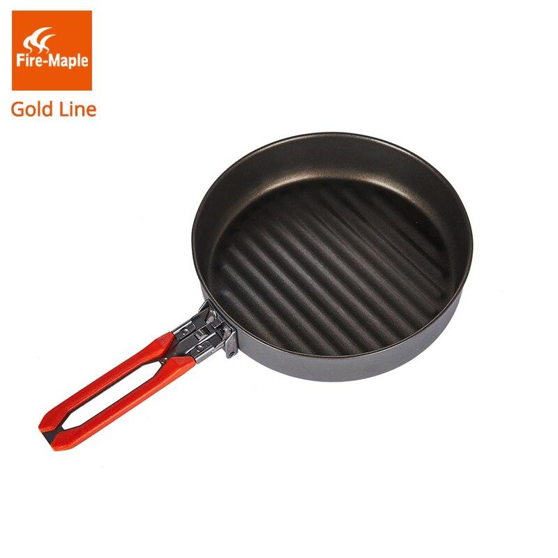 אש מייפל זהב קו טפלון חיצוני קמפינג טיולים מחבת עם ציפוי טפלון Fryan 0.9L 210G