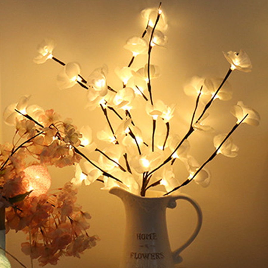 Thrisdar 20 LED Willow Branch Lamp Battery Powered Simulation Orchid Branch Light Vase Filler Flower Branch Fairy Light Garland