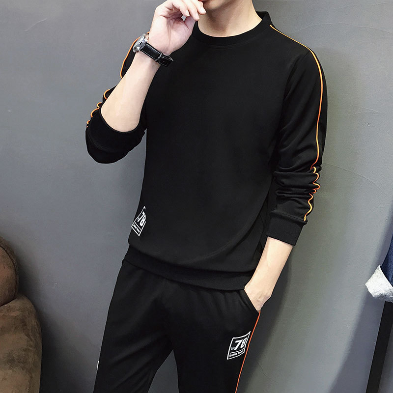 Set Men 2019-Spring And Autumn Pullover Long-sleeved Sweater Men's Korean-style Teenager Casual Fashion Men'S Wear Business Atti