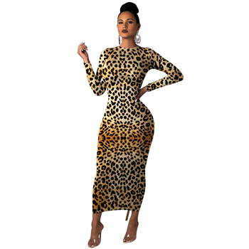 Mirsicas 2019 Autumn women leopard print long sleeve o-neck bodycon midi maxi dress
