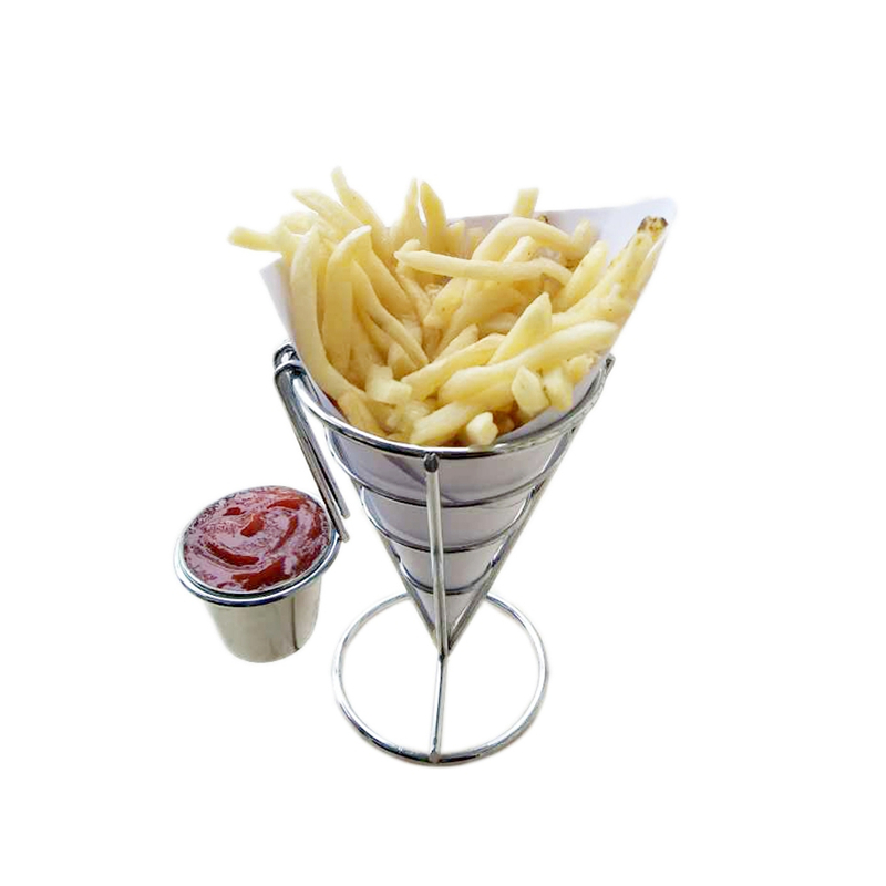 French Fry Holder With Double Sauce Stand Cone Fries Holder Holds Popcorn Vegetables Fruit And Other Appetizers in Colanders Strainers from Home Garden