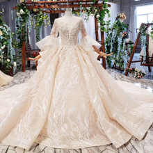 HTL681 dubai luxury wedding dress with royal train flare sleeve backless pleat beading bridal dresses vestidos de noiva 2020