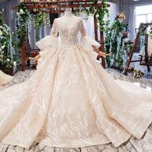 HTL681 dubai luxus hochzeit kleid mit königlichen zug flare hülse backless falten perlen brautkleider vestidos de noiva 2020